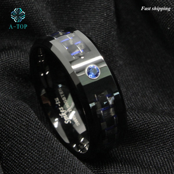 Black and blue Carbon Fiber Tungsten Ring Blue Men's jewelry Band