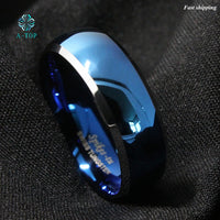 8mm Men's Tungsten ring Blue Domed with Beveled Silver Edges Rings