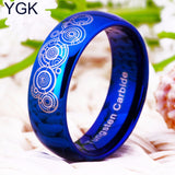 8mm Width Doctor Who Blue Dome Men and Women's Fashion Tungsten Ring
