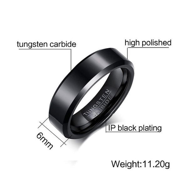 Solid Black Color Pure Tungsten Carbide Ring For Men