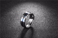 Blue Line Tungsten Ring 8MM Tungsten Carbide Rings for Men Jewelry