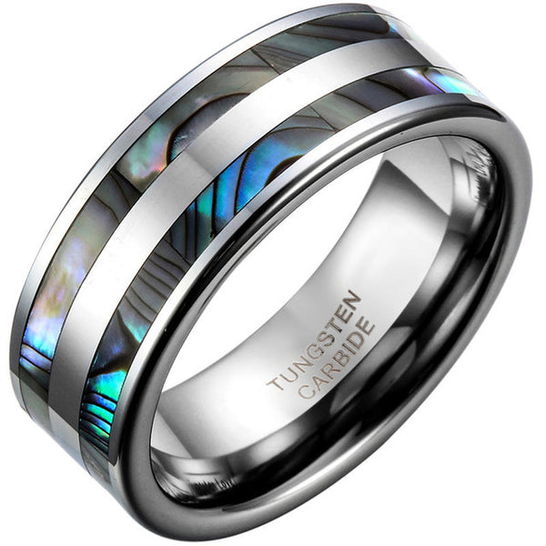 8mm Top Quality Tungsten Carbide Ring with Double Abalone Shell Inlay for Men Engagement Wedding Bands anillos hombre