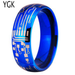 8MM Shiny Blue Dome CIRCUIT BOARD Design New Men's Fashion Tungsten Ring