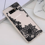 USLION Phone Case For Samsung Galaxy Note 8 S8 S8 Plus S7 S7 Edge Retro Sexy Lace Mandala Flower Clear Soft TPU Cases Back Cover