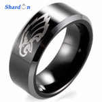 8mm Black Beveled Two-Toned Tungsten Ring laser Philadelphia Eagles Outdoor Ring for Men