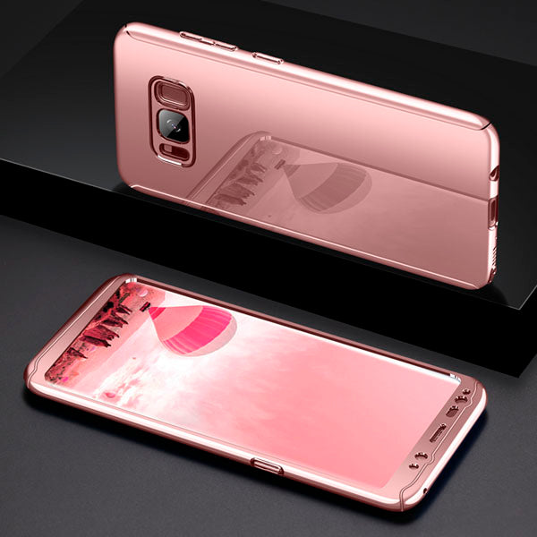 Luxury Ultra Thin Bling Plating Mirror 360 Full Protection Cover For Samsung Galaxy S8 Plus S7 edge Cases 2 in 1 Armor Case Film
