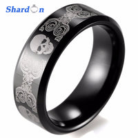 Fashion Tungsten ring with IP black plated trendy men ring band laser skull