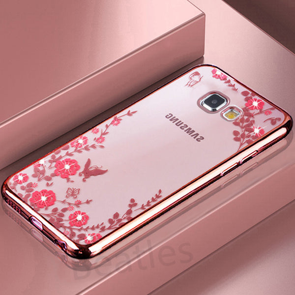 Rhinestone Silicon Case for Samsung Galaxy S8 S5 S6 S7 edge J3 J5 J7 2017 A3 A5 A7 2016 J5 J7 Prime Case Slim TPU Luxury P15