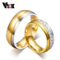 Vnox Wedding Ring for Women / Men Gold Color Love Engagement Couple Stainless Steel Lovers Jewlery Anniversary Gift US size