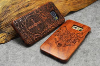 Genuine Real Natural 100% Wood Bamboo Cover Wooden Hard Phone Case For Samsung GALAXY S8 Plus S7 Edge S6 Edge Note 5 Wolf Case