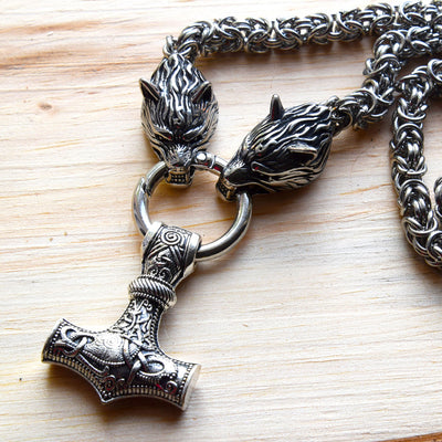 STAINLESS STEEL Large Wolf Head Necklace with Thor's Hammer