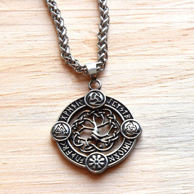 Symbol Guides of the Vikings Amulet - Yggdrasil Tree of Life - Viking Norse Necklace