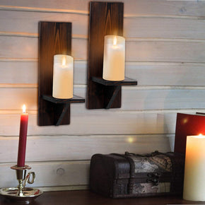 WELLAND Wall Mount Rustic Candle Holders Wall Planter Holder Hanging Wall Sconces Farmhouse Wall Decor Floating Shelves Set of 2