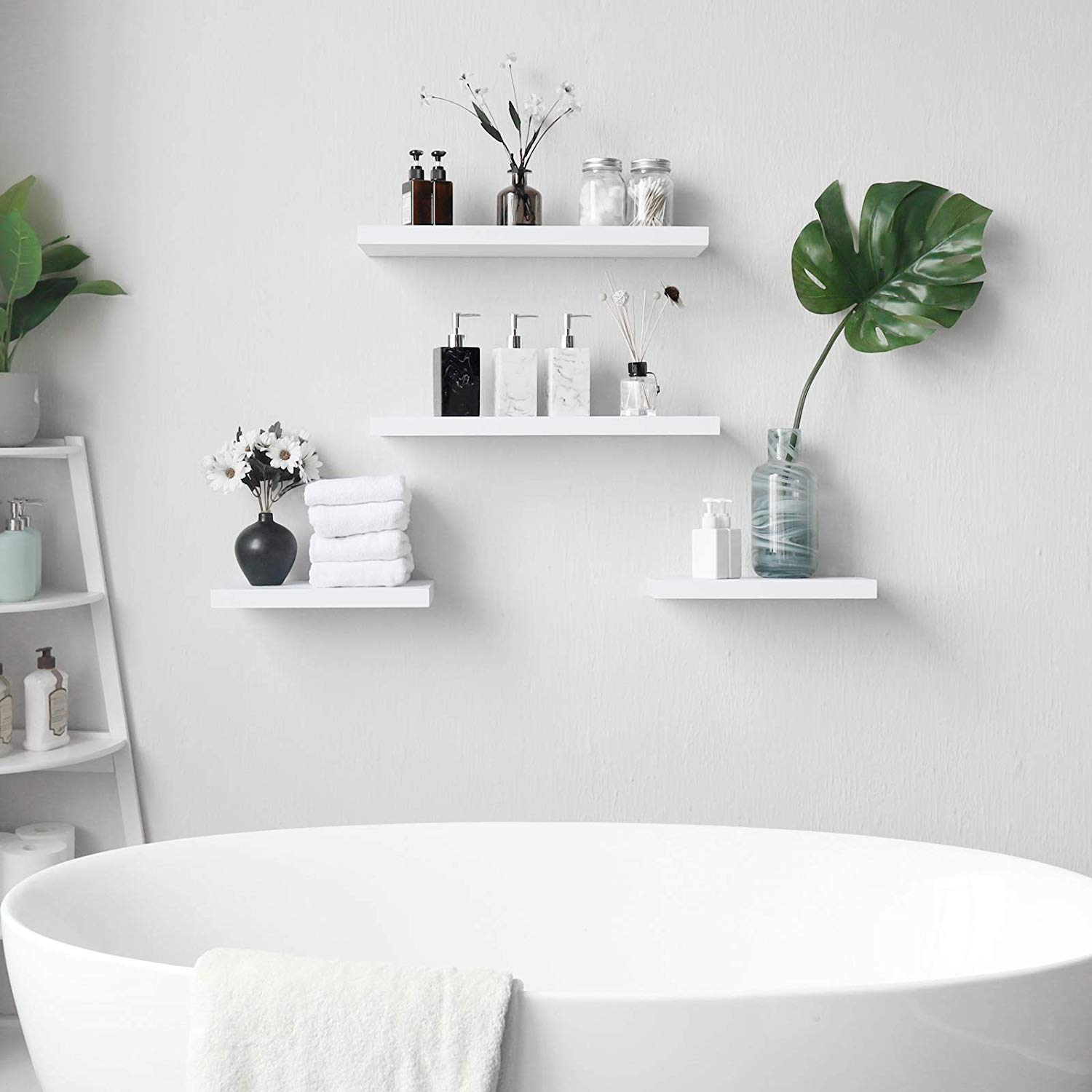 15 Inch Length Wall Mount Floating Shelves For Home Decor Set Of Two Wellandstore