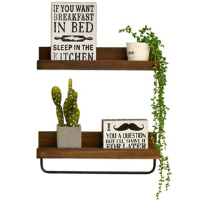 WELLAND Dayton Floating Shelves Set of 2 Wood Picture Ledge Wall Mounted Storage Shelf with Hooks for Kitchen, Bathroom