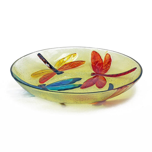 Hand Painted Decorative Glass Platter, Dragonfly Pattern