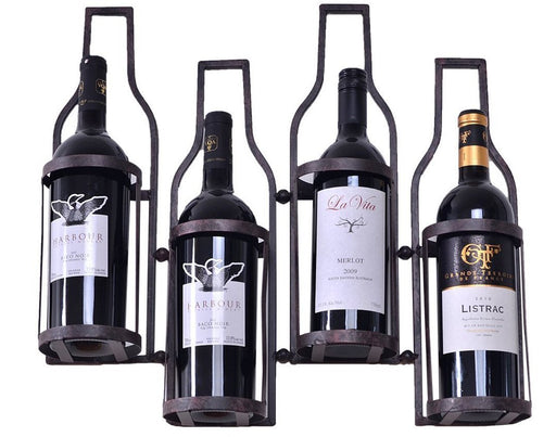 4 Bottle Shaped Metal Wall Wine Rack , Holds 4 Wine Bottles