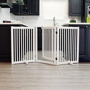 "32"" Freestanding Wood Pet Gate With Walk Through Door, 3 Panel Expands Up to 66"" Wide"