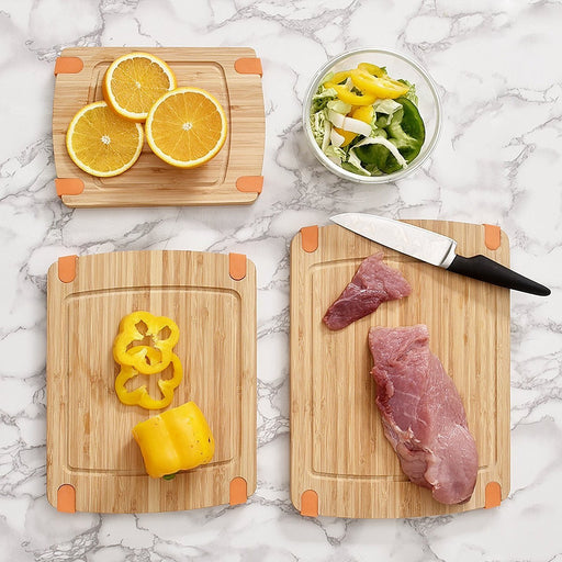 3-Piece Bamboo Cutting Board Set: Wooden Butcher Block Boards with Juice Groove and Non-Slip Edged Rubbler Bar Board