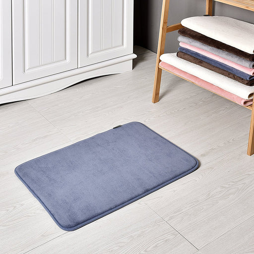 Slip-Resistant Maximum Absorbency Super Soft Memory Foam Bath Mat and Shower Rug, Blue