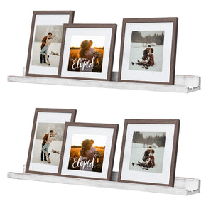 WELLAND Picture Ledge Shelf, Rustic Wood Floating Shelves, Photo Book Ledge Wall Shelf Set of 2 for Gallery Wall Nursery Family Room Kitchen Living Room Bathroom