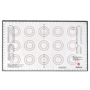 Silicone Large Pastry Mat with Measurements, 25x15 Inches, Non-Slip Sheet Sticks To Countertop For Rolling Dough, Conversion Information Included