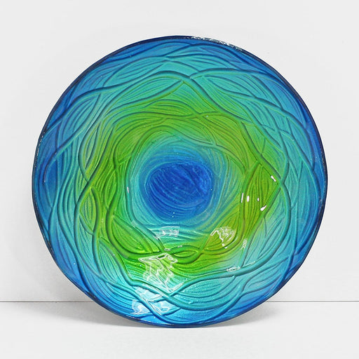 Hand Painted Decorative Glass Dish, Round Shape, Wave Pattern
