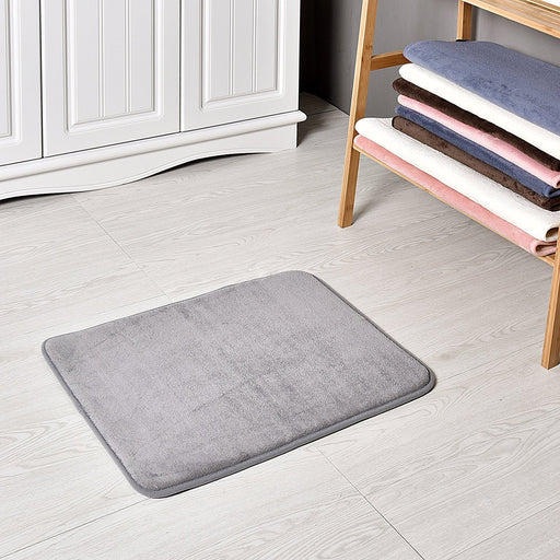 Slip-Resistant Maximum Absorbency Super Soft Memory Foam Bath Mat and Shower Rug, Gray