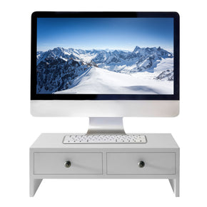 WELLAND Monitor Stand Riser with Drawers, Desktop Organizer Desk Laptop or PC Computer Stand for Home&Office, White