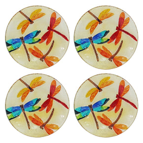 Set of 4 Hand Painted Decorative Glass Platter, Dragonfly Pattern