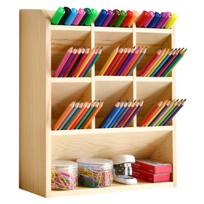 WELLAND Wooden Pencil Holder, Multi-Functional Pencils Organizer, Storage for Art Supplies, Fully Assembled, Office Supplies