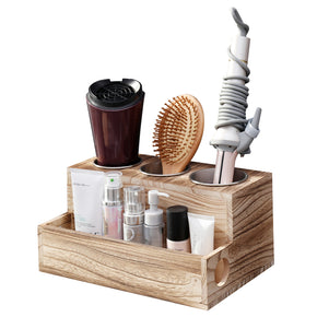 WELLAND Hair Tools Organizer for Bathroom Wall & Countertop, Holds Blow Dryer, Curling Iron, Hair Straightener and More, Rustic Wood Hair Dryer Holder with 3 Stainless Steel Cup