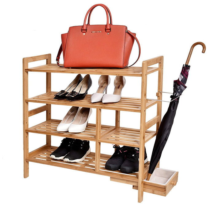 "4-Tier Bamboo Shoe Rack with Hidden Umbrella Stand, 29 1/2"" x 10 1/5 "" x 29 1/2"""