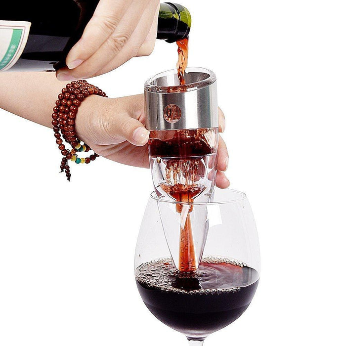 Wine Aerator Decanter Spout Pourer with Stand, 6 Speeds - Instantly Makes Wine Taste Better - with Gift Box