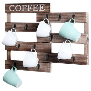 WELLAND Pull-Out Coffee Cup Holder, Wall Mounted Mug Rack for Farmhouse Coffee Station Decor, Two Ways to Display, Rustic Wooden Mug Organizer for Home