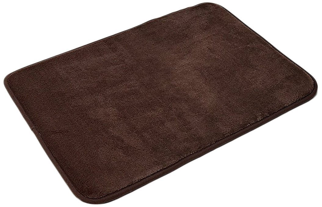 Slip-Resistant Maximum Absorbency Super Soft Memory Foam Bath Mat and Shower Rug, Chocolate