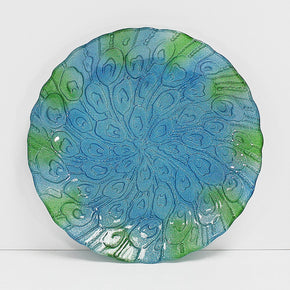 Hand Painted Round Decorative Glass Dish, Peacock Tail Pattern