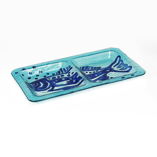 Hand Painted Rectangle Decorative Glass Dish, 2 Sections, Blue Fish Design