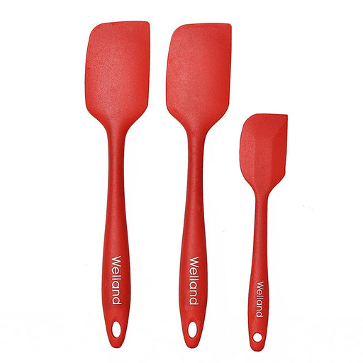 3-Piece Silicone Spatula Set - 2 Large & 1 Small Heat Resistant Cooking Utensils (Cherry Red)