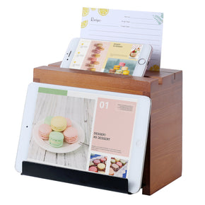 WELLAND Wood Recipe Box with 4 x 6 Inches Cards, Phone Slot on The Top, Pull-Out iPad Holder Stand, Card Dividers with Tap