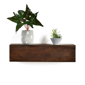 6 Inch High Dylan Rustic Floating Shelf Fireplace Mantel Shelf, Real Wood Floating Wall Shelf, Walnut Color, Pinewood