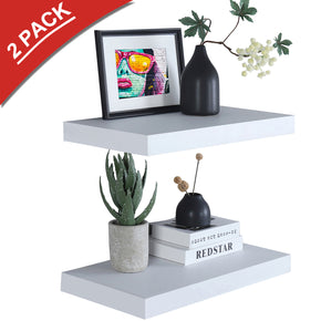 "WELLAND 12"" Deep White Floating Shelves 2 Pack, Wall Shelf Display Floating Shelf, 23.62"" L x 11.81"" D x 2"" T"
