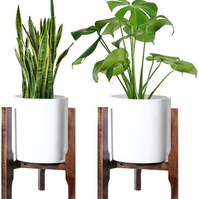 2 Pack Plant Stand Mid Century Wood Flower Pot Holder (Plant Pot NOT Included) Potted Stand Indoor Display Rack Adjustable Width 9-13 inches