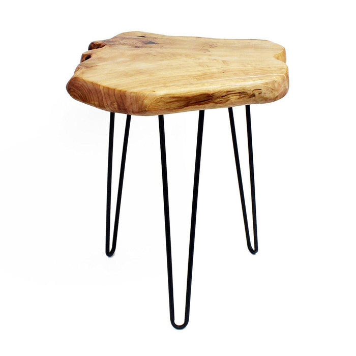 Cedar Wood Stump End Table Rustic Surface Side Table 3-Leg Metal Stand