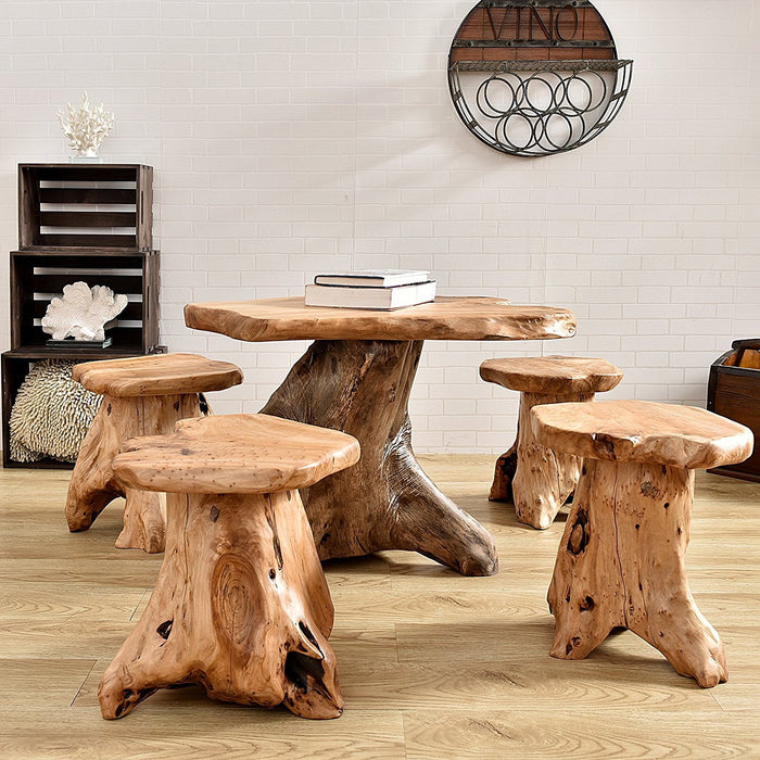 Live Edge Organic Cedar Stump Stool for Indoor/Outdoor, Mushroom Stool 15 Inch Heigt