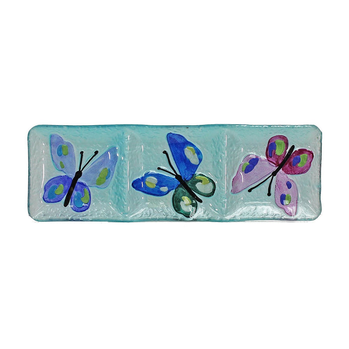 Hand Painted Glass Dish with 3 Sections, Butterfly Pattern, 15 x 5 Inches, Rectangle