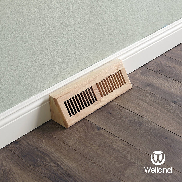 Red Oak Wood Vent Baseboard Diffuser Wall Register, Unfinished