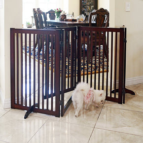 Freestanding Wood Pet Gate With Walk Through Door, 88-Inch, Cherry