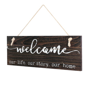 "WELLAND Rustic Hanging Welcome Sign Wall Decor for Living Room/Bedroom/Kitchen, 16.5"" by 5.9"" Wood Wall Sign - Welcome Our Life Our Story Our Home"