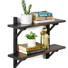 "WELLAND Rustic Wall Shelf for Bathroom| 2 Tier Floating Shelf for Kitchen and Bedroom| Solid Pine Wood & Brackets| Espresso Finish| 23.6"" W x 6.7"" D x 18.9"" H